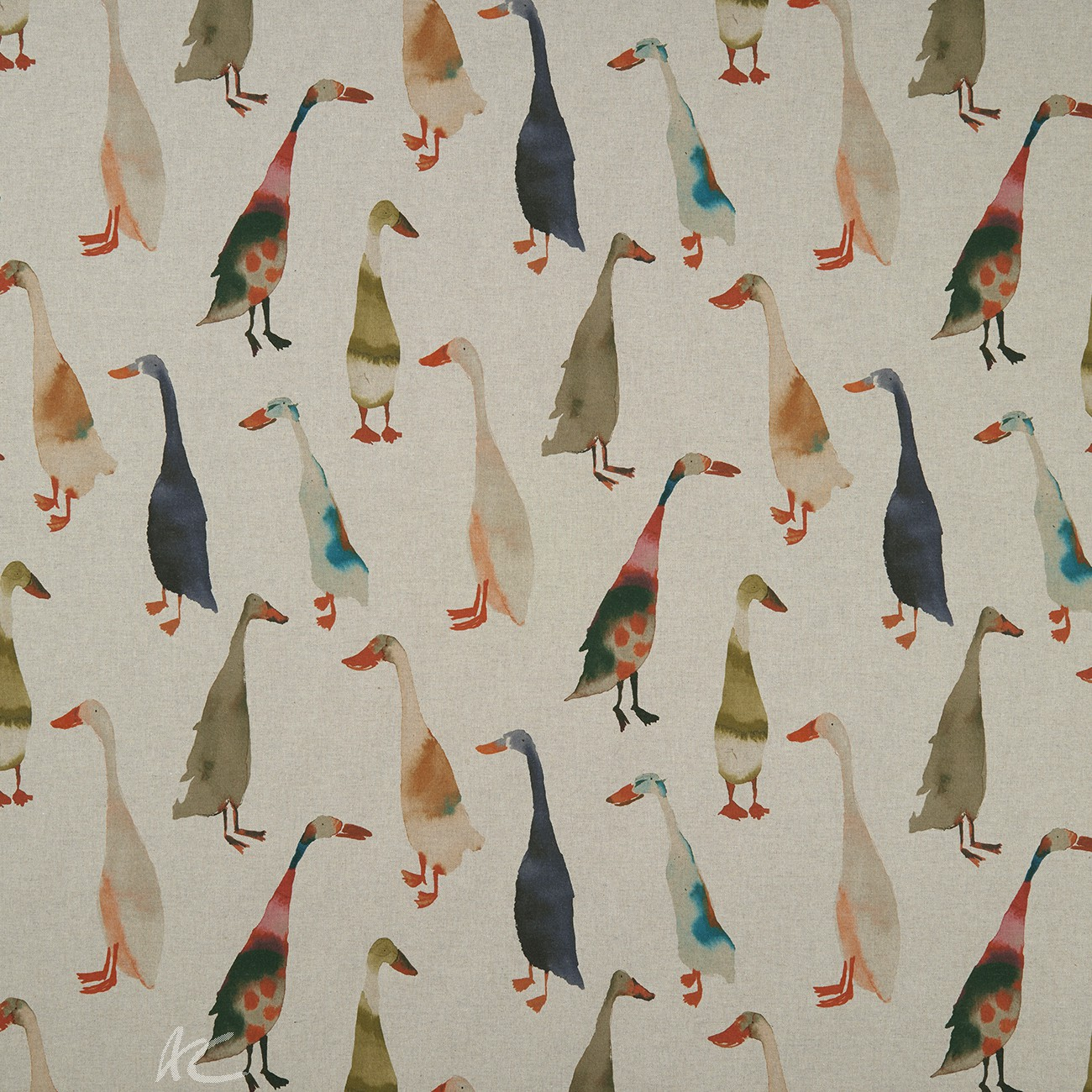 Country Garden Riverside  Linen Curtain Fabric
