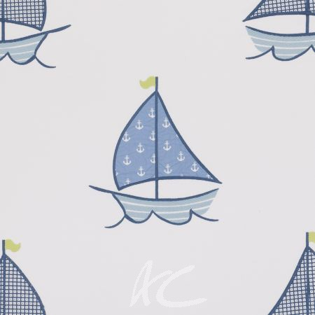 Clarke and Clarke Storybook Sailing Boats Blue Made to Measure Curtains