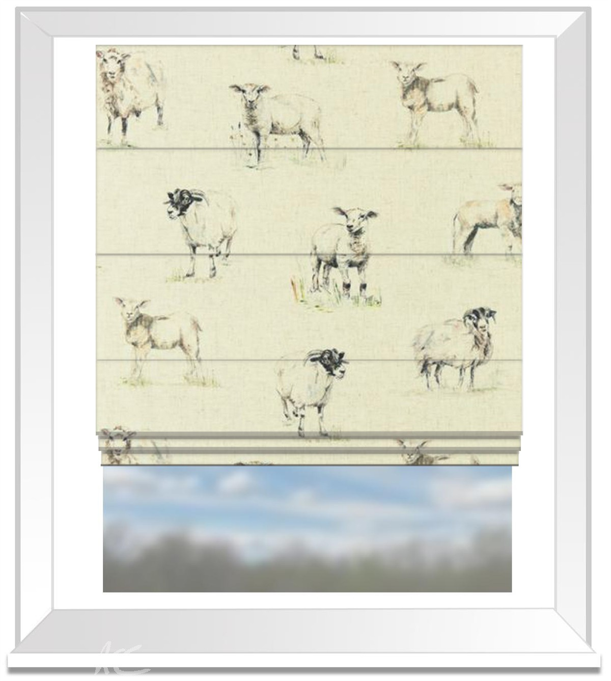 Clarke And Clarke Countryside Sheep Linen Roman Blind