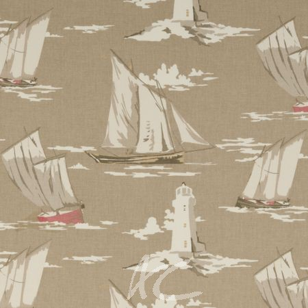Clarke and Clarke Maritime Prints Skipper Taupe Made to Measure Curtains