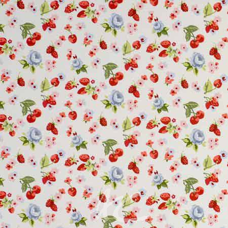 Clarke and Clarke Garden Party SummerFruits Chambray Curtain Fabric