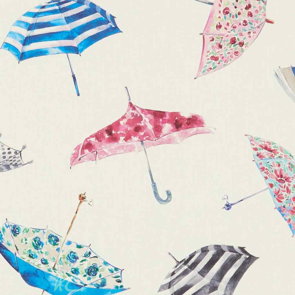A Village Life  Umbrellas  Cream  Curtain Fabric