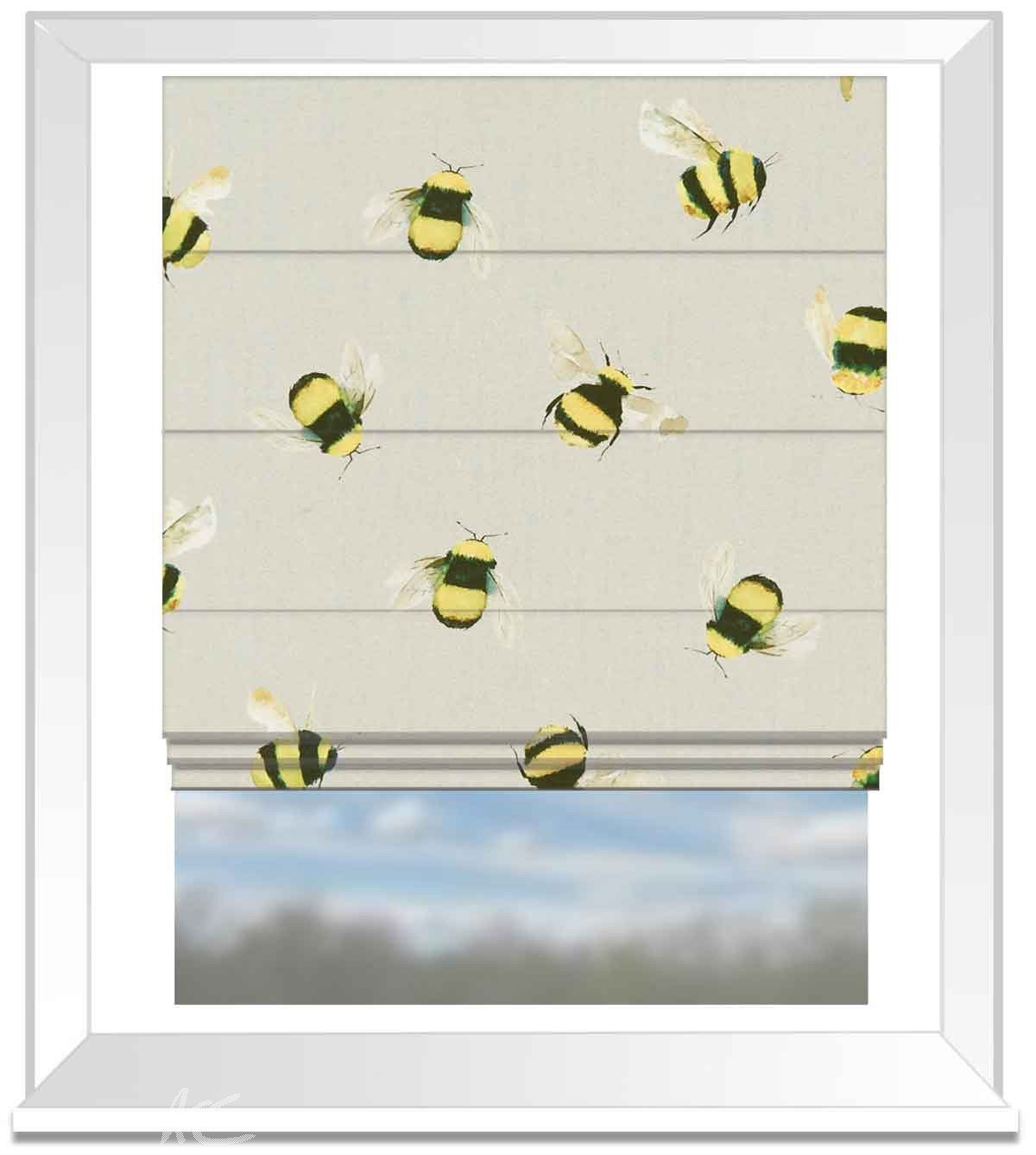 A Village Life  Bees  Taupe  Roman Blind