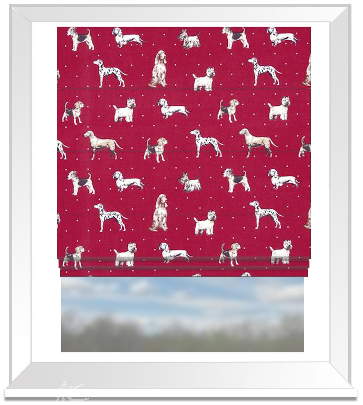 Clarke and Clarke Blighty Best Of Show Red Roman Blind
