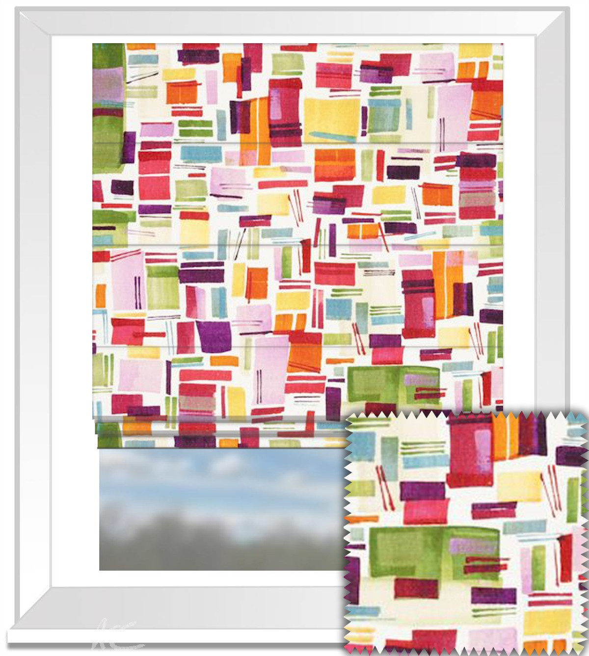 Clarke and Clarke Artbook Brooklyn Linen Multi Roman Blind