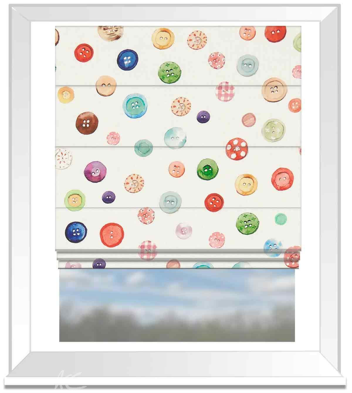 A Village Life  Button Box  Cream  Roman Blind