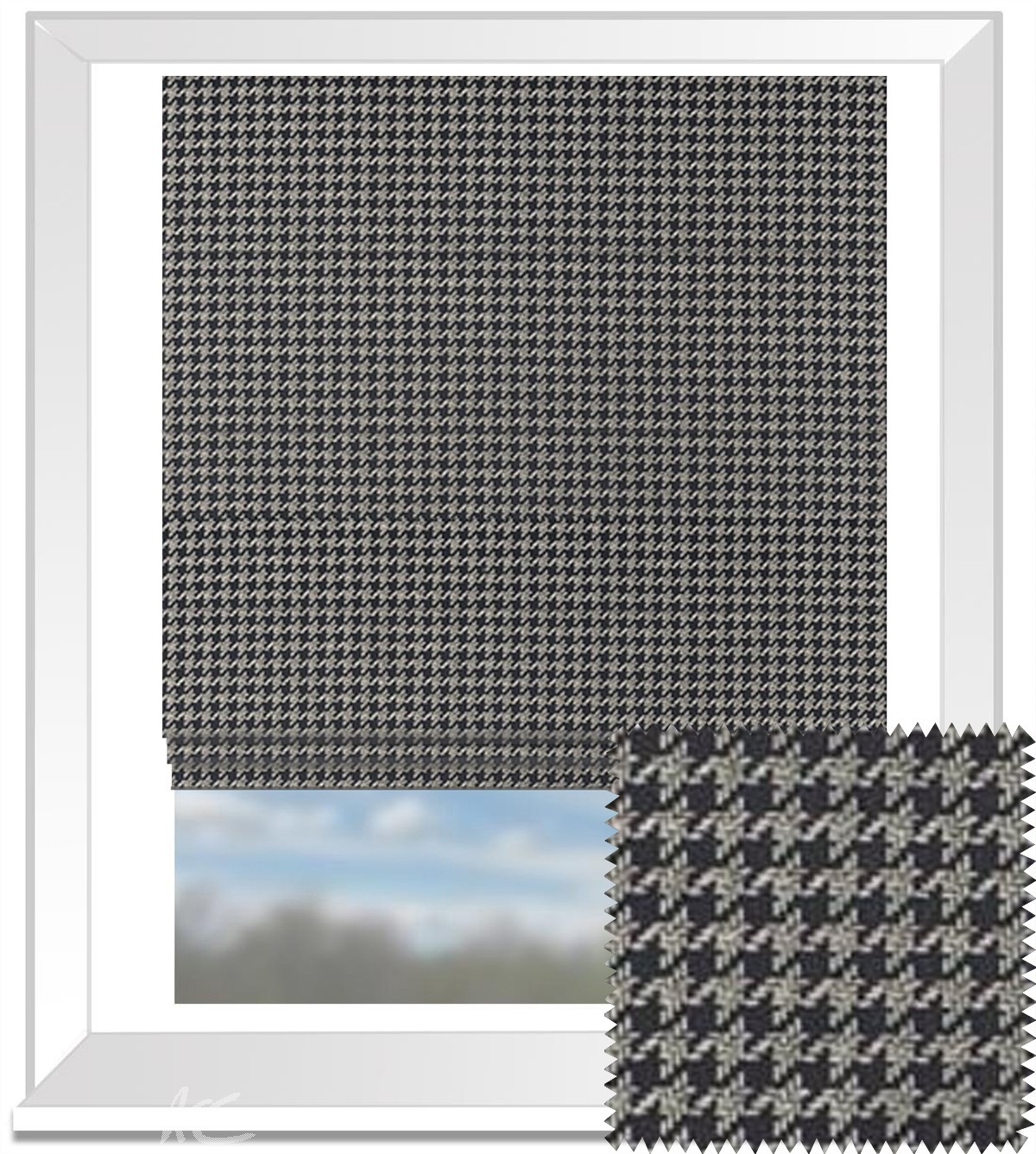 Clarke and Clarke BW1002 Black and White Roman Blind