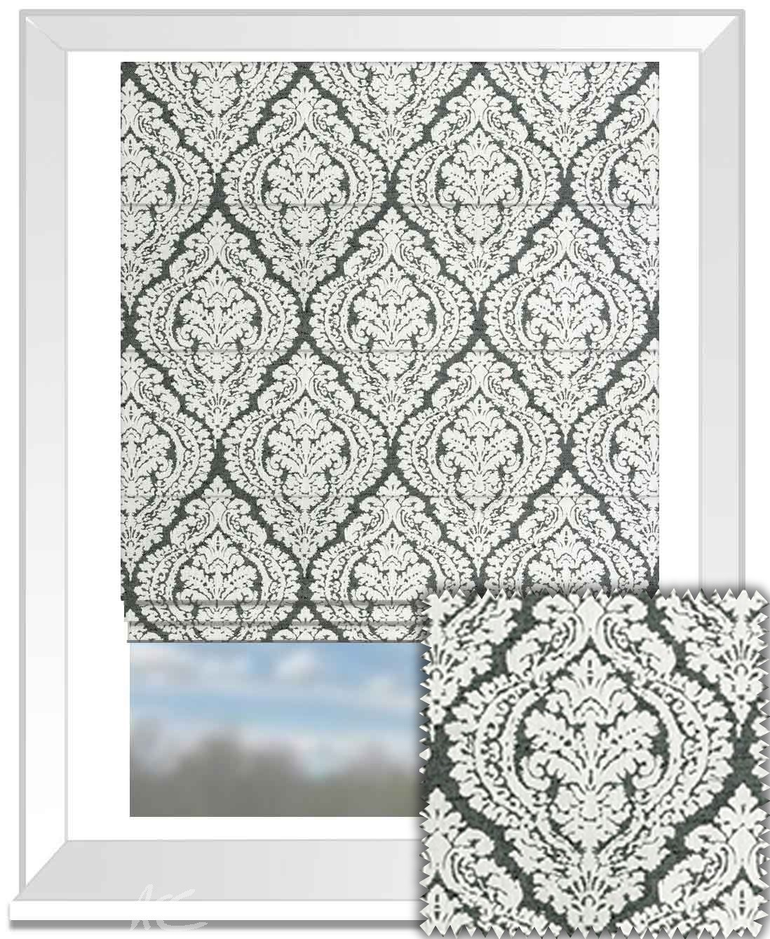 Clarke and Clarke BW1004 Black and White Roman Blind