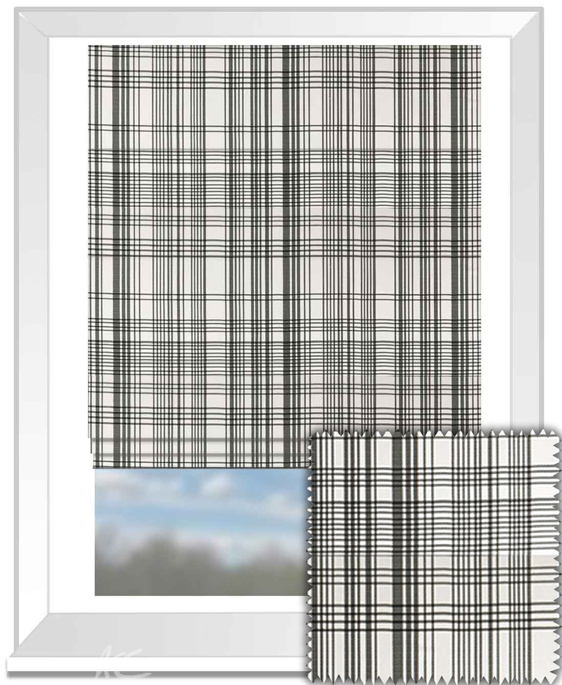 Clarke and Clarke BW1006 Black and White Roman Blind
