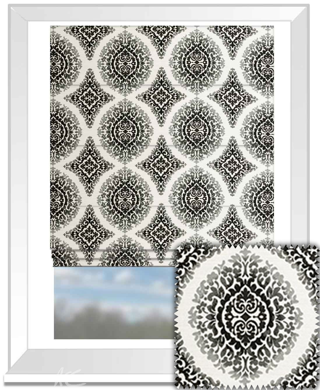 Clarke and Clarke BW1024 Black and White Roman Blind