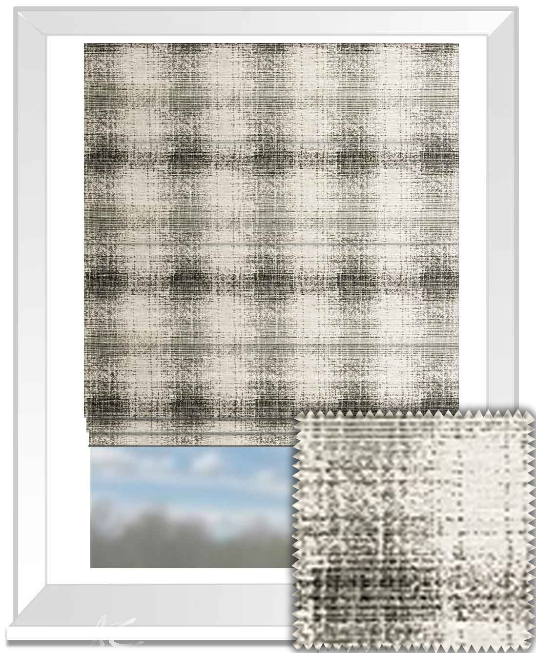 Clarke and Clarke BW1028 Black and White Roman Blind