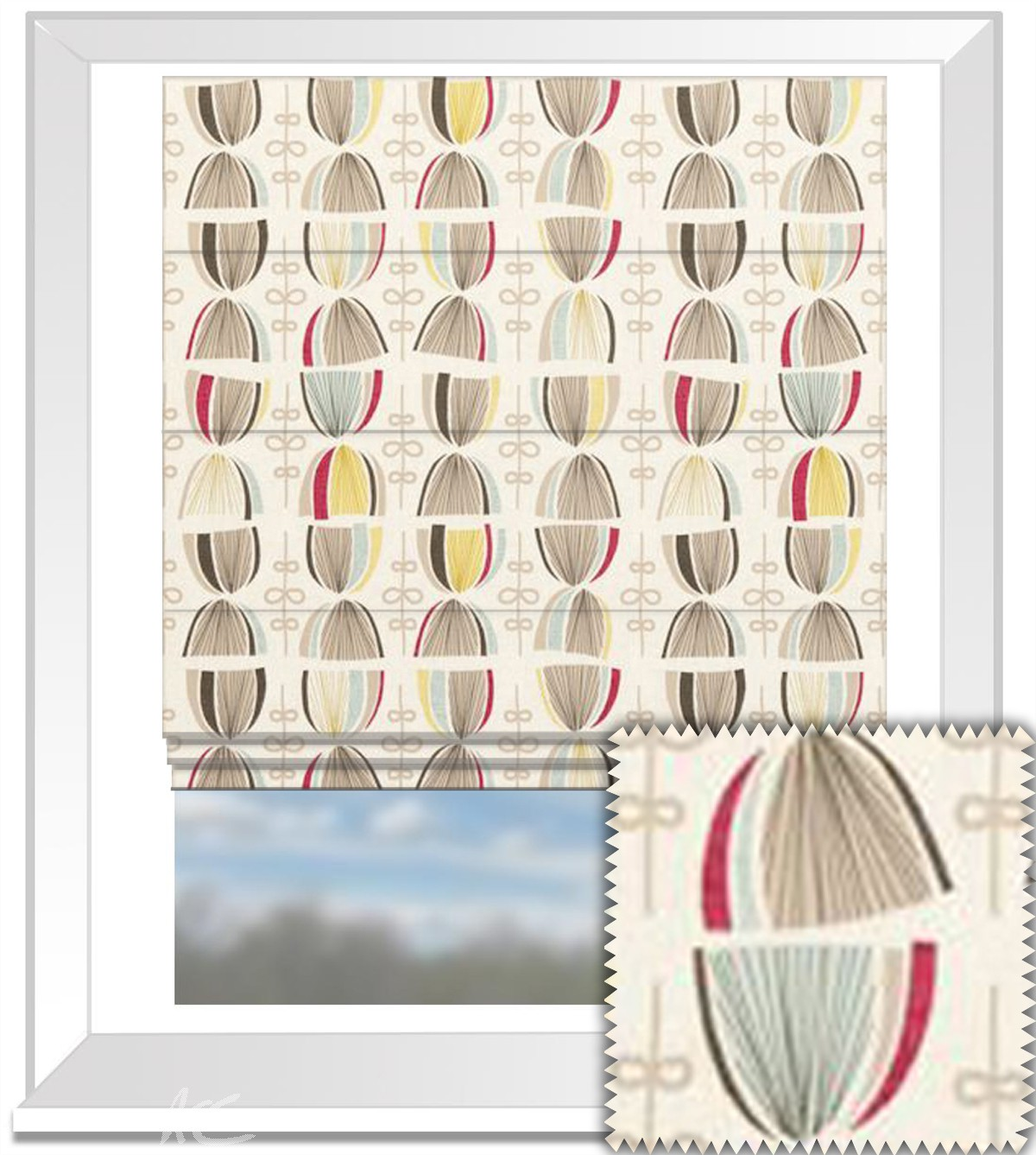 Clarke and Clarke Festival Cosmos Summer Roman Blind