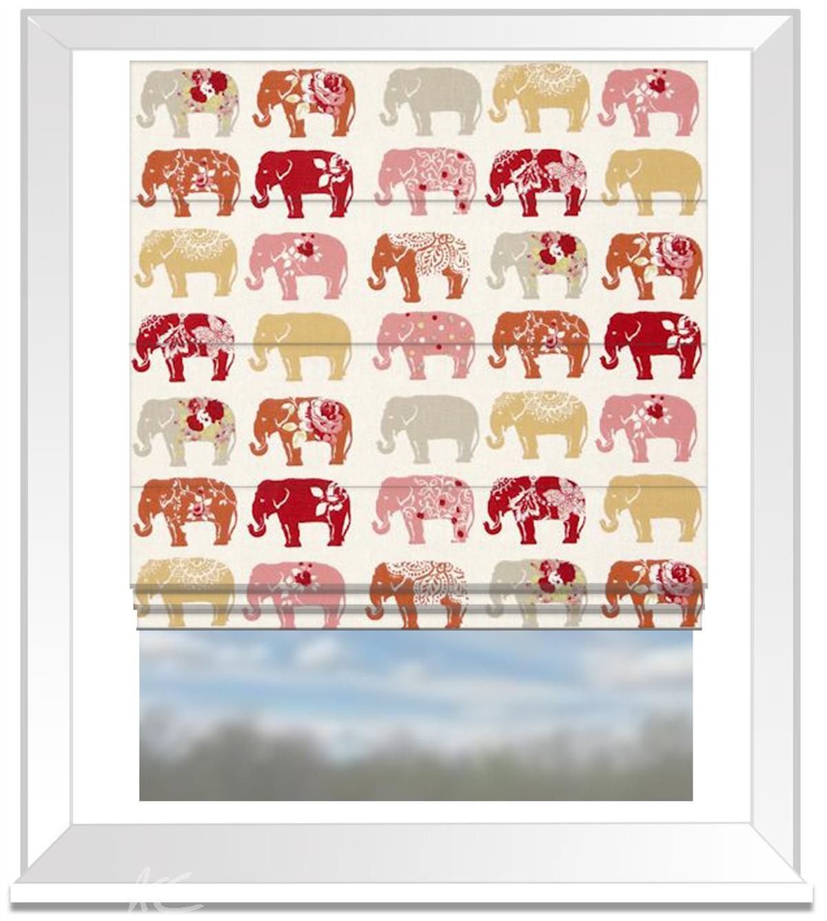 Clarke and Clarke Blighty Elephants Spice Roman Blind