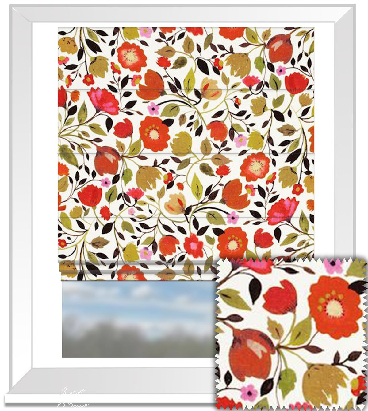 Clarke and Clarke Artbook Red Tulips Linen Autumn Roman Blind