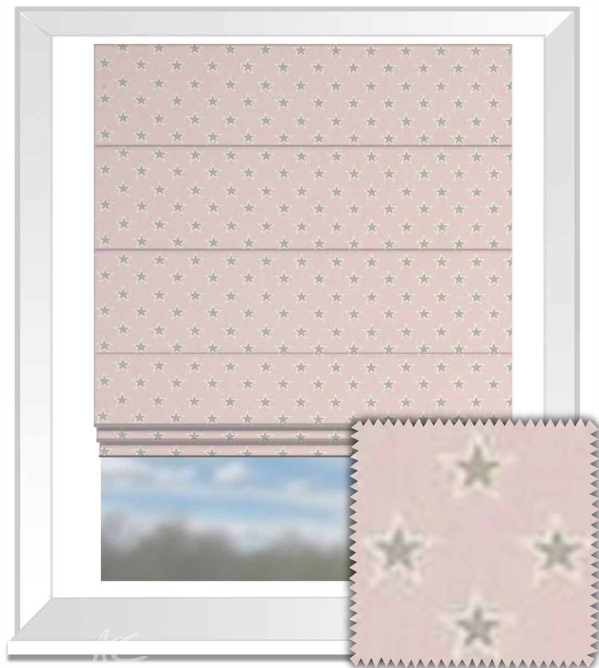 Clarke and Clarke Garden Party Shooting Stars Pink Roman Blind