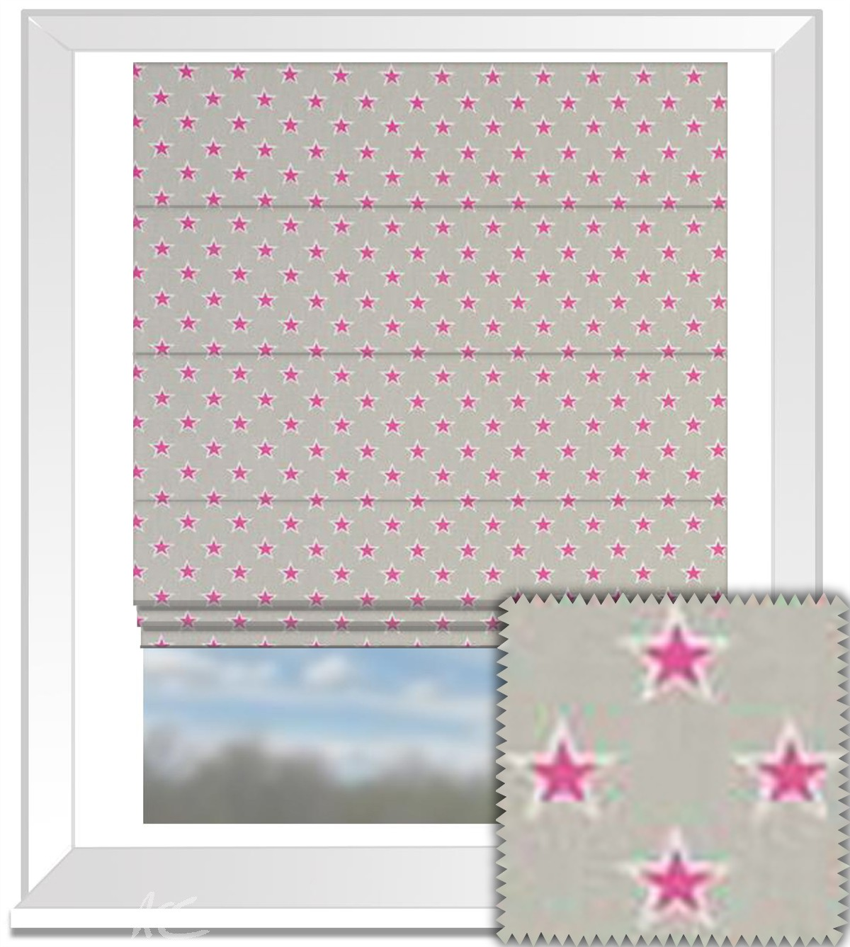 Clarke and Clarke Garden Party Shooting Stars Raspberry Roman Blind