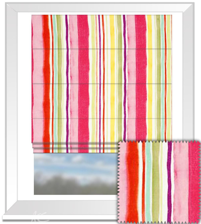 Clarke and Clarke Artbook Sunrise Stripe Linen Multi Roman Blind