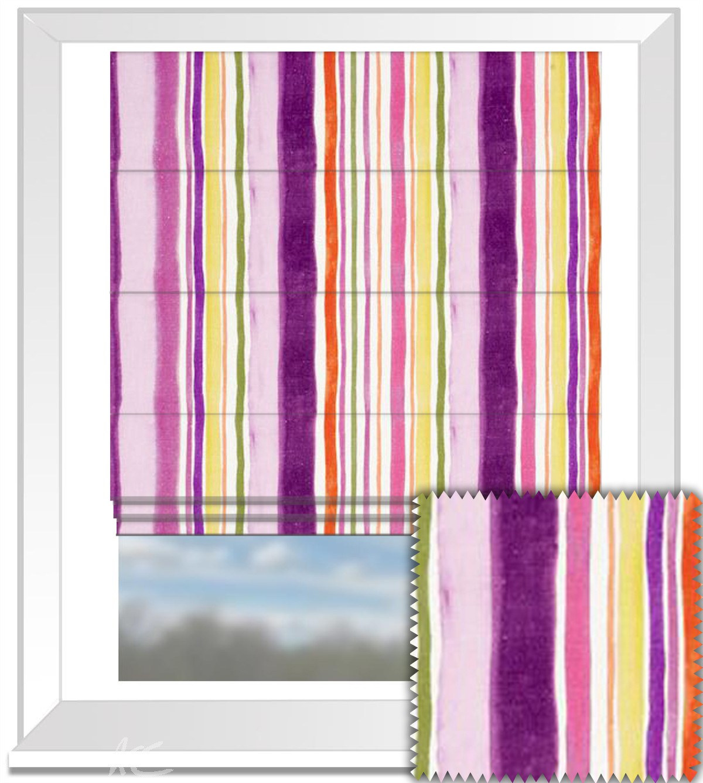 Clarke and Clarke Artbook Sunrise Stripe Linen Passion Roman Blind