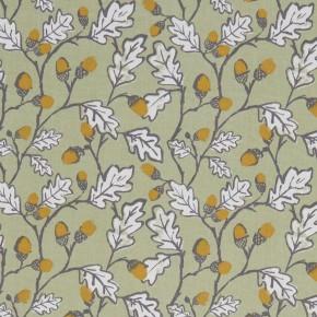 A Land & Sea Acorn Trail Sage Curtain Fabric