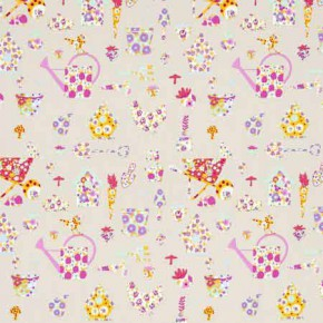 Clarke and Clarke Blighty Allotment Pink Curtain Fabric