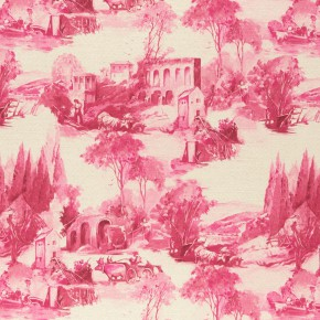 Clarke and Clarke  Colony Anastacia Raspberry Curtain Fabric