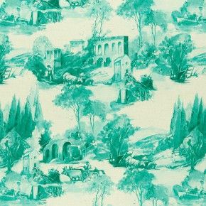 Clarke and Clarke  Colony Anastacia Teal Curtain Fabric