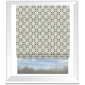 Clarke and Clarke Colony Cabana Charcoal Roman Blind