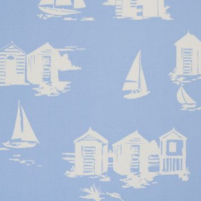 Clarke and Clarke Vintage Classics Beach Huts Blue Made to Measure Curtains