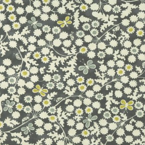 Bloomsbury Berwick Trail charcoal-chartreuse Curtain Fabric