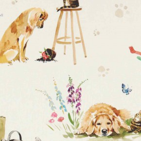 A Village Life  Best Of Friends  Cream  Curtain Fabric