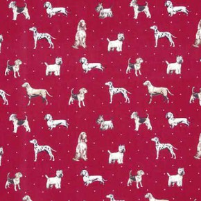 Clarke and Clarke Blighty Best Of Show Red Curtain Fabric