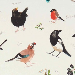 A Village Life  Bird Watch  Cream  Curtain Fabric
