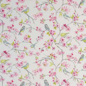 Clarke and Clarke Garden Party Birdies Pink Curtain Fabric