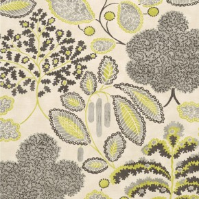 Clarke and Clarke Bloomsbury charcoal-chartreuse Curtain Fabric