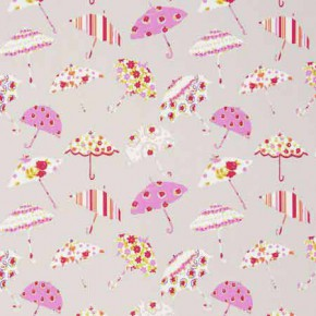 Clarke and Clarke Blighty Brollies Pink Curtain Fabric