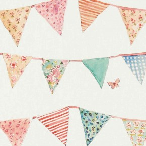 A Village Life  Bunting Cream  Curtain Fabric
