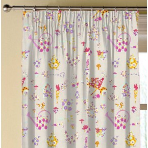 Clarke and Clarke Blighty Allotment Pink Made to Measure Curtains