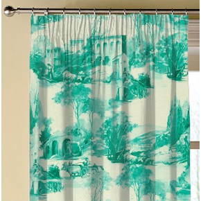 Clarke and Clarke  Colony Anastacia Teal Made to Measure Curtains