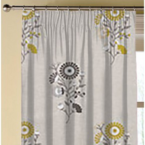 Clarke and Clarke Oslo Arla Chartreuse Charcoal Made to Measure Curtains