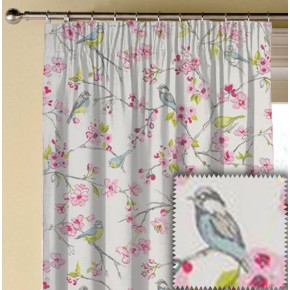 Clarke and Clarke Garden Party Birdies Pink Made to Measure Curtains