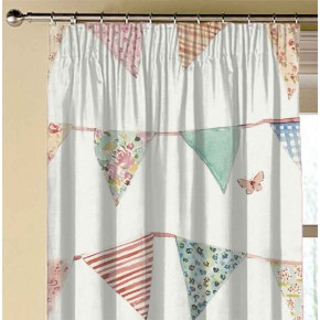 A Village Life  Bunting Cream  Made to Measure Curtains