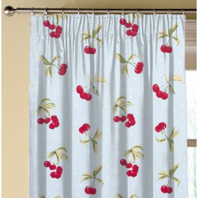 Clarke and Clarke Blighty Cherries Duckegg Made to Measure Curtains