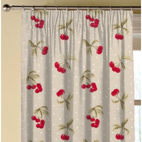 Clarke and Clarke Blighty Cherries Taupe Made to Measure Curtains