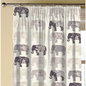 Clarke and Clarke Blighty Elephants Natural Made to Measure Curtains