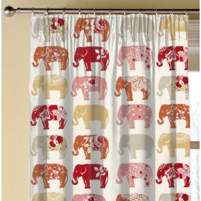 Clarke and Clarke Blighty Elephants Spice Made to Measure Curtains