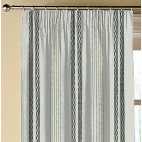 Clarke and Clarke  Colony Grenada Charcoal/Sky Made to Measure Curtains