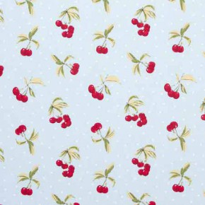 Clarke and Clarke Blighty Cherries Duckegg Curtain Fabric