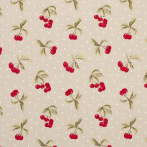 Clarke and Clarke Blighty Cherries Taupe Curtain Fabric
