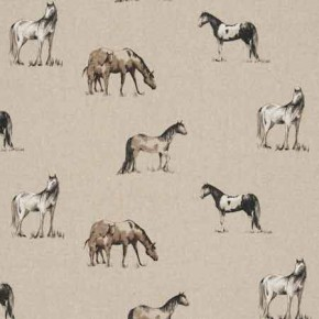Clarke and Clarke Fougeres Chevaux Linen Curtain Fabric