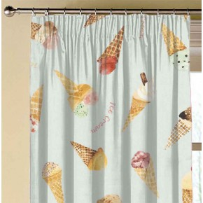 A Village Life  Ice Cream Parlour Blue  Made to Measure Curtains